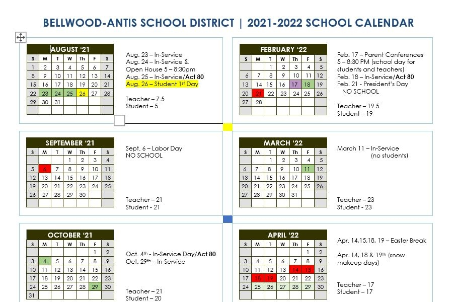 Bellwood-Antis+officialized+its+school+calendar+for+2021-2022.
