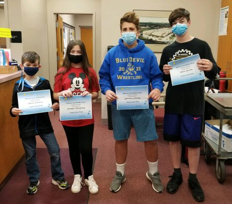 BAMS Students of the Week from April 12-16 are: (L to R) Vance Finamore, Delaynie McKinney, Christian Jennings & Robbie Servello.