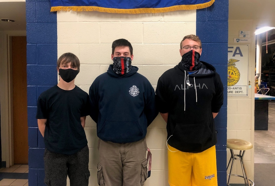Johnny Dean, Joey Whiteford, and Aaron Laird are currently finishing Module 3 of their firefighter training.