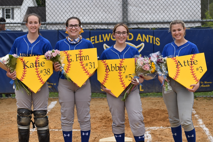 Kaitlyn Robison, Gabriella Finn, Abby Snyder, and Attie Poorman were recognized Tuesday at the softball teams Senior Night.