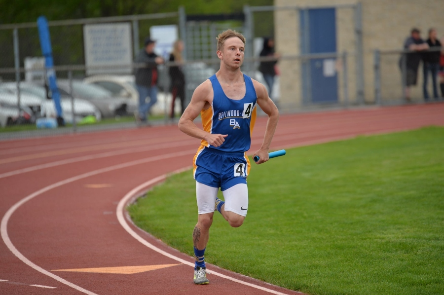 Kenny Robison turns the corner in the 3200 relay at the 77th Bellwood-Antis Invitational.
