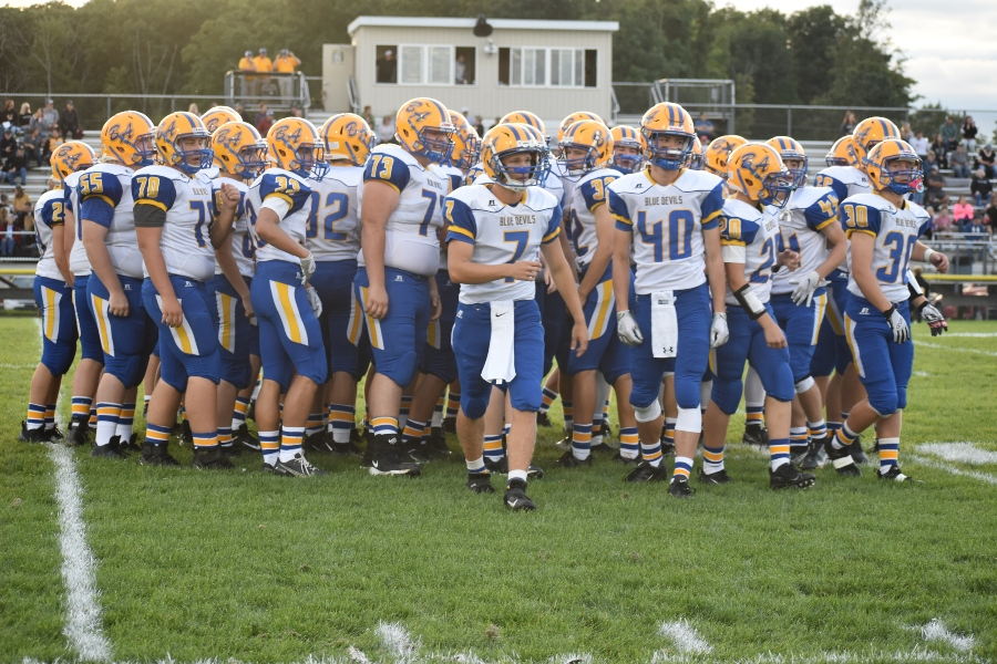 The+Blue+Devils+prepare+to+take+the+field+against+Moshannon+Valley.