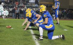 Cooper Keen gets ready on defense in B-As loss to Juniata Valley last Friday.