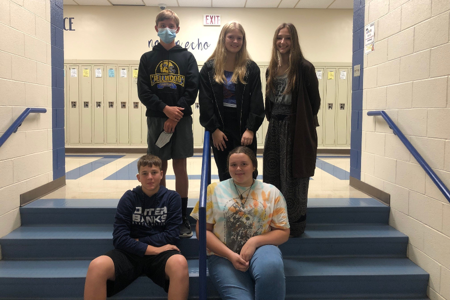 Ninth grade elected its class officers this week. Winners include (front fow) Boys Social Chair Cayden Pellegrine and Treasurer Brooke Hescox; (back row) Vice President Holden Schreier, President Gianna Juaart, and Secretary Halle Young. Missing was Girls social Chair Allison Kendall.